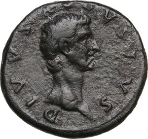 obverse: Divus Augustus (died 14 AD).. AE As. Restitution issue. Struck under Nerva, 98 AD