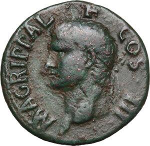 obverse: Agrippa (died 12 BC).. AE As. Struck under (Gaius) Caligula, 37-41 AD
