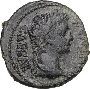 obverse: Tiberius as Caesar (4-14 AD).. AE As. Lugdunum mint. Struck under Augustus, 13-14 AD