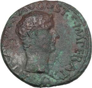 obverse: Tiberius as Caesar (4-14 AD).. AE As. Struck under Augustus, 8-10 AD