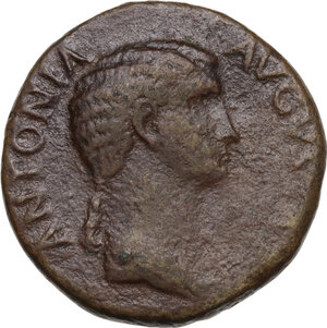 obverse: Antonia, daughter of Mark Anthony and Octavia (died 45 AD). AE Dupondius. Struck 41-42 AD