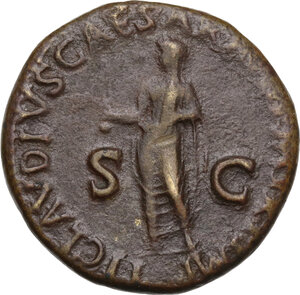 reverse: Antonia, daughter of Mark Anthony and Octavia (died 45 AD). AE Dupondius. Struck 41-42 AD