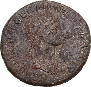 obverse: Agrippina senior, daughter of Agrippa, wife of Germanicus (died in 33 AD). . AE Sestertius. Struck under Claudius