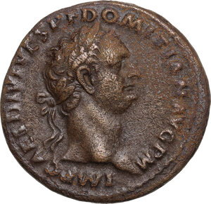 obverse: Domitian (81-96).. AE As. Struck 82 AD