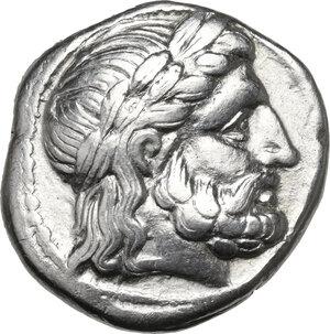 obverse: Kings of Macedon.  Philip II (359-336 BC).. AR Tetradrachm, Amphipolis mint. Struck c. 316-311 BC