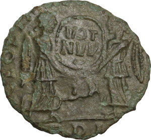 reverse: Uncertain Germanic tribes. Pseudo-Imperial coinage. . AE 17 mm. Imitation of Magnentius. Mid 4th-early 5th century AD