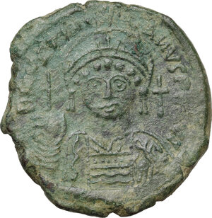 obverse: Justinian I (527-565).. AE Follis. Constantinople mint, 1st officina. Dated RY 29 (555/6)