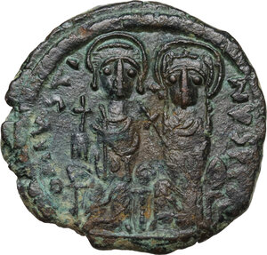 obverse: Justin II and Sophia (565-578).. AE Follis. Constantinople mint. Dated RY 8 (572/3)