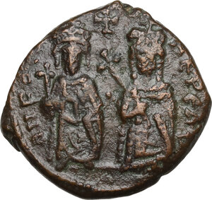 obverse: Phocas with Leontia (602-610). AE Half Follis. Theoupolis (Antioch) mint. Dated RY 2(?) (603/4 AD)