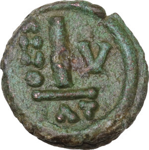 reverse: Heraclius (610-641).. AE Decanummium. Catania mint. Dated RY 5 (614/5)