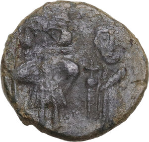 obverse: Constans II, with Constantine IV, Heraclius, and Tiberius (641-668). . AE Follis. Syracuse mint, 659-668