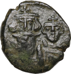 obverse: Constans II, with Constantine IV (641-668). . AE Half Follis. Syracuse mint. Dated IY 4 (660/1)