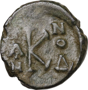 reverse: Constans II, with Constantine IV (641-668). . AE Half Follis. Syracuse mint. Dated IY 4 (660/1)