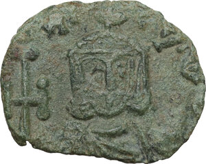 reverse: Constantine V Copronymus with Leo IV (751-775).. AE Follis. Syracuse mint, 751-775