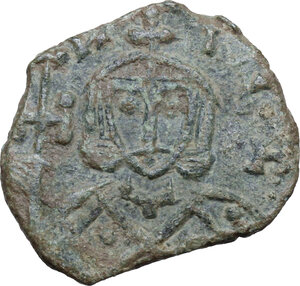 obverse: Leo V with Constantine (813-820).. AE Follis. Syracuse mint