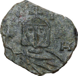 reverse: Leo V with Constantine (813-820).. AE Follis. Syracuse mint
