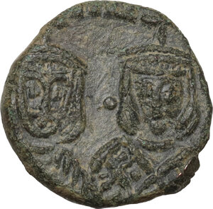 obverse: Michael II the Amorian, with Theophilus (820-829).. AE Follis. Syracuse mint, 821-829