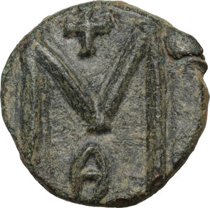 reverse: Michael II the Amorian, with Theophilus (820-829).. AE Follis. Syracuse mint, 821-829