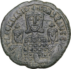 obverse: Basil I with Constantine and Leo VI (867-886).. AE Follis. Constantinople mint, 870-879
