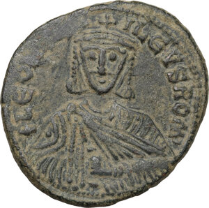 obverse: Leo VI the Wise (886-912).. AE Follis. Constantinople mint
