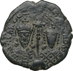 obverse: Constantine VII with Romanus I (913-959).. AE Follis. Constantinople mint. Struck 931-944