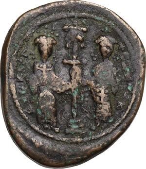 reverse: Constantine X Ducas with Eudocia (1059-1067).. AE Follis. Constantinople mint