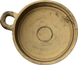 reverse: One Handled Daunian Kylix.  5th century BC.  Height 6.5 cm. Diameter 19.5 cm (including handle)