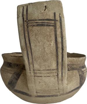 reverse: Daunian Kyathos.  Decorated with black geometric patterns.  5th century BC.  Height 12 cm. Diameter 14 cm