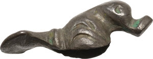 obverse: Silver decorative element in the shape of a duck.  Celtic, Danubian Region, 2nd century BC, 1st century AD  25 x 9 mm