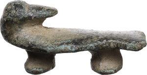 obverse: Duck-shaped bronze decorative element.  Greek or early roman, 2nd-1st century BC.  Length 35mm, 16.63 g