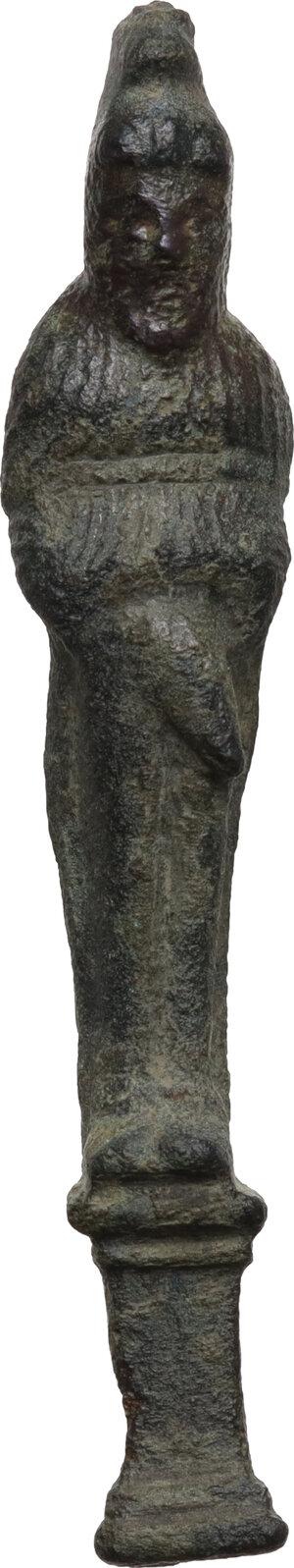 obverse: Bronze ithyphallic Herm chest hasp.  Roman, 1st-3rd century AD.  70 mm. 24.83 g