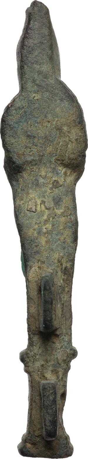 reverse: Bronze ithyphallic Herm chest hasp.  Roman, 1st-3rd century AD.  70 mm. 24.83 g