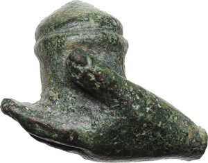 obverse: Solid bronze hand holding pyxis.  Roman, 1st-3rd century AD.  28 x 21 mm 26.16 g