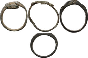 obverse: Lot of 4  bronze rings (including a key ring, and a clasped hands ring).  Roman period to middle ages