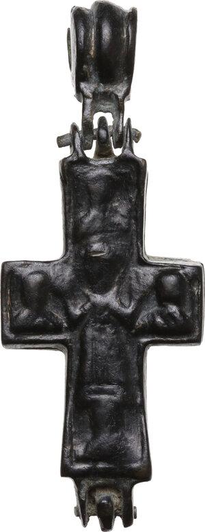 reverse: Bronze Enkolpion.  Byzantine, 9th-11th century AD.  54 x 21 mm. 20.14 g
