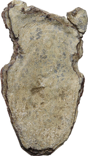 reverse: Lead Minerva with Corinthian Helmet applique.  Roman, 1st-3rd century AD.  40 x 24 mm. 44.75 g