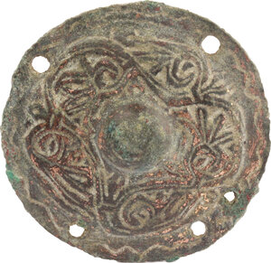 obverse: Bronze umbone (or circular applique) with floral pattern.  Early medieval.  48 mm