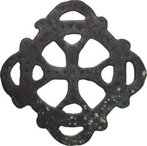 obverse: Bronze cross open-work applique.  Byzantine, 5th-10th century AD.  12.3 x 12.3 cm