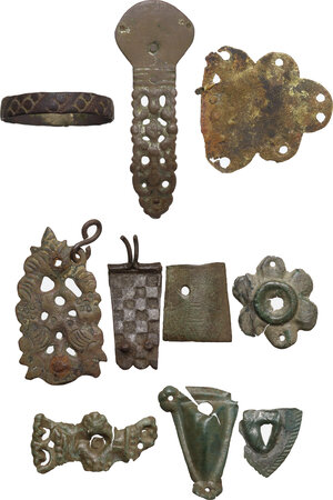 obverse: Lot of 10 bronze decorative elements.  Late roman to middle eages