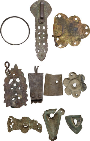 reverse: Lot of 10 bronze decorative elements.  Late roman to middle eages