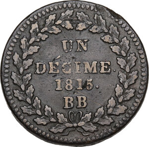 reverse: France.  Napoleon Bonaparte (1801-1815).. Un Decime 1815 BB, Strasburg mint