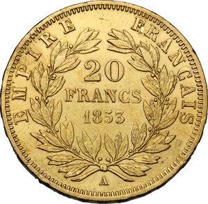 reverse: France.  Napoleon III (1852-1870).. AV 20 Francs, 1853 A, Paris mint