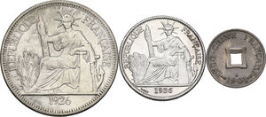obverse: French Indochina. Lot of three (3) coins: piastre de commerce 1926, 50 cent 1936 and sapeque 1901 A