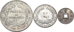 reverse: French Indochina. Lot of three (3) coins: piastre de commerce 1926, 50 cent 1936 and sapeque 1901 A