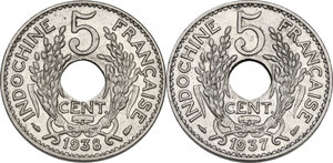 reverse: French Indochina. Lot of  two (2) coins: 5 cent 1937 (Cu-Ni) and 1938 (Ni-Brass)