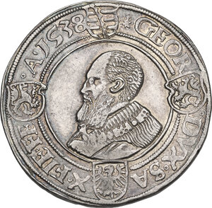 obverse: Germany.  Johann Friedrich and Georg, Dukes of Saxony (1532-1539).. AR Taler 1538