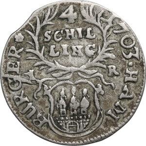 reverse: Germany.  Leopold I (1658-1705). AR 4 Schilling 1703, Hamburg mint