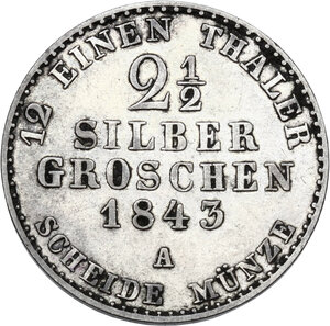 reverse: Germany.  Friedrich Wilhelm IV (1840-1861). AR 2-1/2 Groschen, Clausthal (Hannover) mint, 1843 A