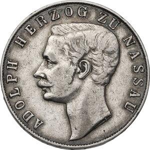 obverse: Germany.  Adolph, Duke of Nassau (1839-1866).. AR Vereinstaler 1860