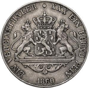 reverse: Germany.  Adolph, Duke of Nassau (1839-1866).. AR Vereinstaler 1860